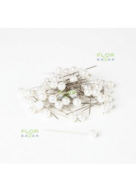 Флористическая белая булавка Paula. 10 мм