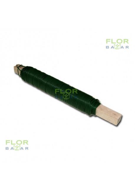 Проволока на палочке. Зелёная. Флористическая. 0,7 мм. 100 г